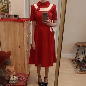 Vintage 1940s Johnny E Juniors Pin Up Dress S
